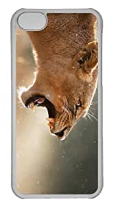 cases good angry female lion PC Transparent case for iphone 5C