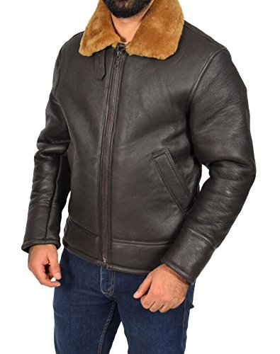 Mens Real Brown Sheepskin Flying Leather Jacket Ginger ...