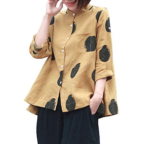 Aniywn Women Large Size Long Sleeve Vintage T-Shirt Casual Flare Hem Tops Women Polka Dot Print Button Blouse Yellow