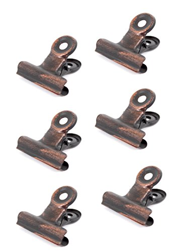 BarnwoodUSA Metal Hinge Clips, Bulldog Clips, Rustic Bronze Finish - Pack of 6, Screws Included