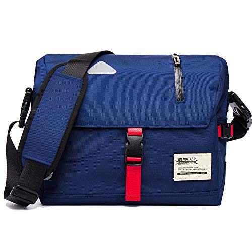 Messenger Bag Unisex Backpack Nylon Satchel Shoulder Crossbody Messenger Bag School Work Sport Fits 14 Inch Laptop Messenger Bag Men & Women Water Resistant Reflective Mark (Blue)