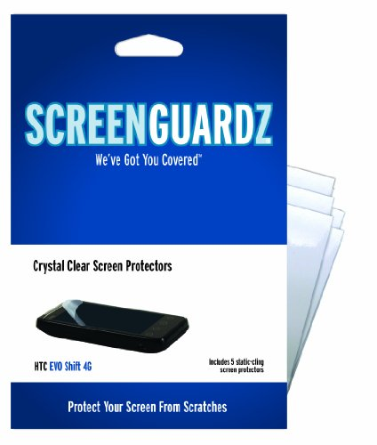 ScreenGuardz Ultra-Slim Screen Protector for HTC EVO Shift 4G - 5 Pack