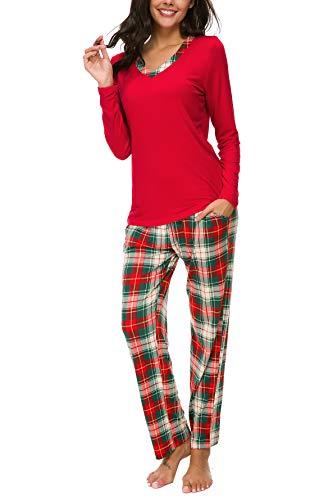 AVIIER Pajamas Set Womens Long Sleeve Soft Sleepwear Classic Two Piece Loungewear S-XXL