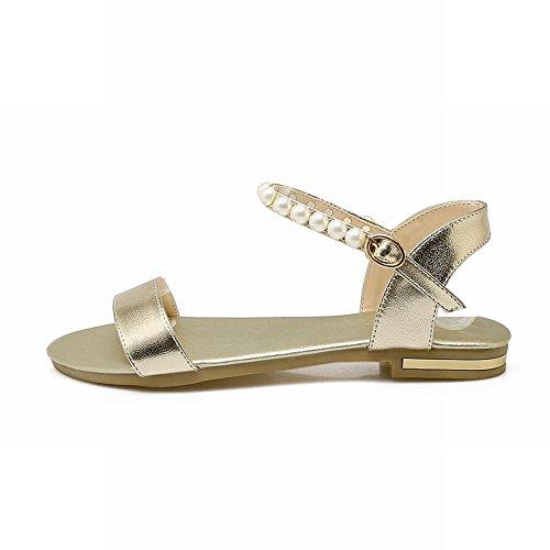 Mee Shoes Women's Charm Buckle Faux Pearl Low Heel Sandals Gold w4tXjF0kuE