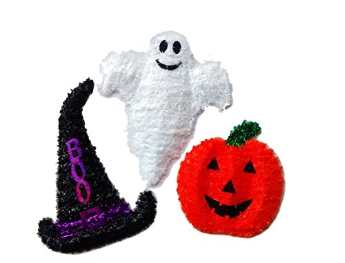 GHOST, PUMPKIN/JACK O LANTERN ,WITCH HAT WITH BOO