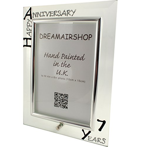 7th Year (Seven Year) Anniversary Gift Photo Frame (P) (Black/Silver)