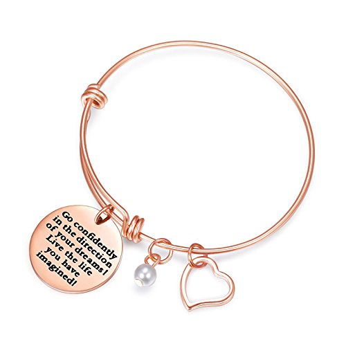 Sunflower Jewellery Rose Gold Charm Bracelet Go Confidently in The Direction of Your Dreams Live The Life You Have Imagined