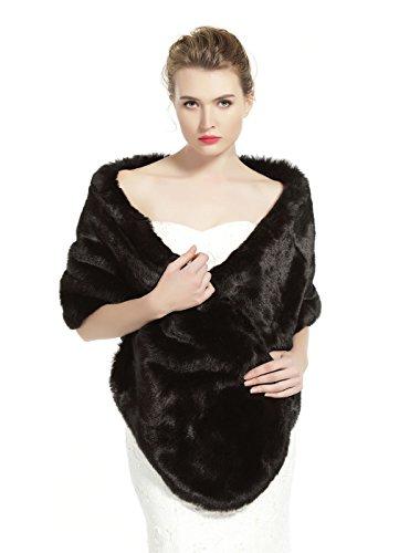 BEAUTELICATE Women's Faux Fur Shawl Stoles Wrap for Bridal/Wedding/Party-S62 Black