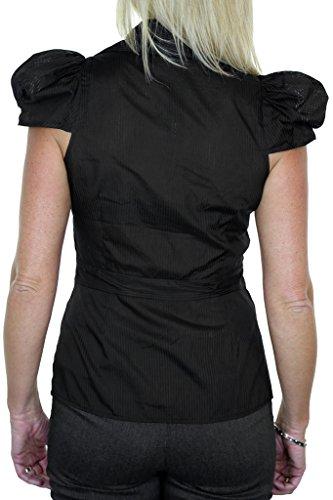 ICE (4064-1) maniche Ufficio camicetta elegante nero berretto a righe