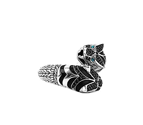 JOHN HARDY RING LEGENDS MACAN BLACK SAPPHIRE & TOPAZ DOUBLE TIGER SZ (Macan Tiger)