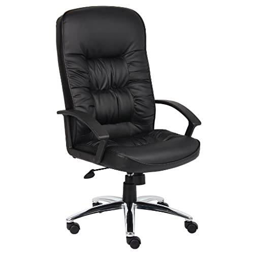 Exceptionnel Boss Office Products B7301C High Back LeatherPlus Chair With Chrome Base In  Black