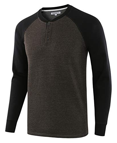 (HARBETH Men's Casual Soft Fleece Baseball Henley Sweatshirt Pullover Sweater H.Charcoal/Black)