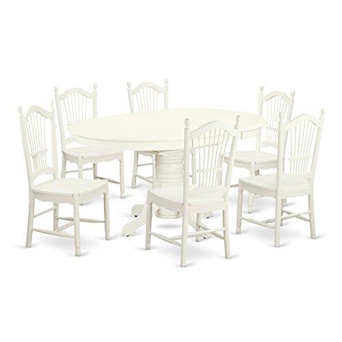 East West Furniture AVDO7-LWH-W Kitchen Set, Medium, Linen White