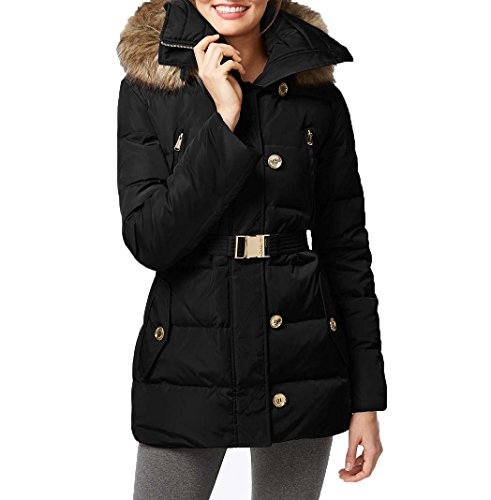 MICHAEL Michael Kors Women's Button Front Belted 3/4 Down w/ Faux Fur Black Outerwear XS - Michael Kors Womens Coats