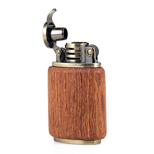 Rosewood Wooden Case Antique Style Lift Arm Oil Petrol Brass Metal Lighter (Type 3)