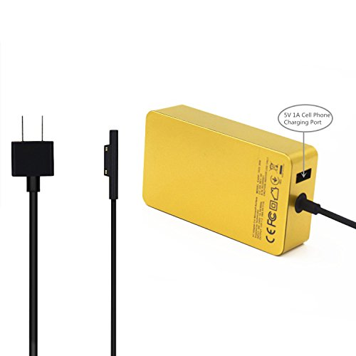 KINGDO Surface Power Supply Adapter 36W 12V 2.58A for Microsoft Surface Pro 3 & Pro 4 Tablet with 6Ft Power Cord Including a storage pouch bag (Gold)