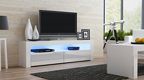 Milano Collection Storage (TV Console MILANO Classic WHITE - up to 70-inch flat TV screens – MULTICOLOR 16 RGB LED light system and High Gloss finish front doors – Mesa TV Milano para televisores hasta 70 pulgadas)