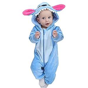 Hihamer Ciel Bleu Pyjama Ensemble de Pyjama Dors Bien Enfant Bébé Combinaison Hiver Forme Animal Déguisement Stitch Bleu (Bleu Ciel, 13-18 Mois) 12
