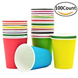 Lonyun Disposable Cup for DIY,Wedding parper Cups(8OZ) (Multicolor 100pcs)