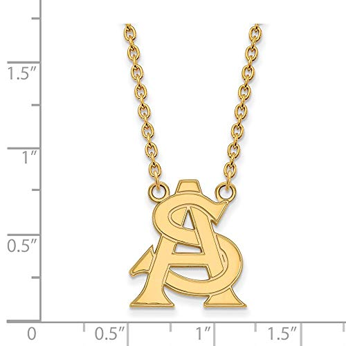 10k Yellow Gold Arizona State Sun Devils School Letters Logo Pendant Necklace L - (19 mm x 16 mm) ()