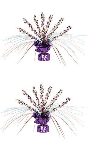Beistle 57918 - Centro de mesa en espray con diseño de flores retro, 28 cm, 2 piezas, Multicolor, 1