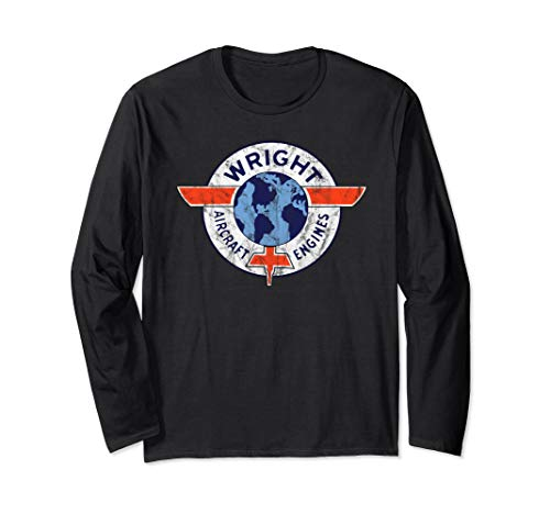 Wright Aircraft Engines Vintage Retro Aviation  Long Sleeve T-Shirt