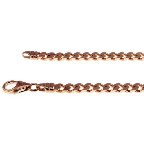 Exclusif Gourmette Collier en or rose 585, 45cm-4,0mm-4faces diamantée et chaîne (poli)-Char or rose 585
