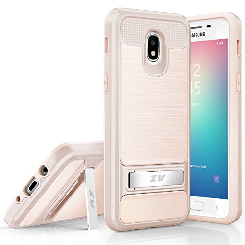 Samsung Galaxy J7 Refine, J7 Star, J7V 2018, J737 Case Phonelicious Kickstand Heavy Duty Rugged Slim Durable Hybrid Dual Layer Shockproof Phone Cover Screen Protector (Gold)