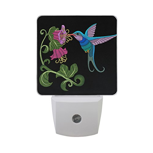 Embroidery Hibiscus (Naanle Set Of 2 Hummingbird Feeding Hibiscus Flowers Embroidery Element Fashion Traditional Decoration On Black Auto Sensor LED Dusk To Dawn Night Light Plug In Indoor for Adults)