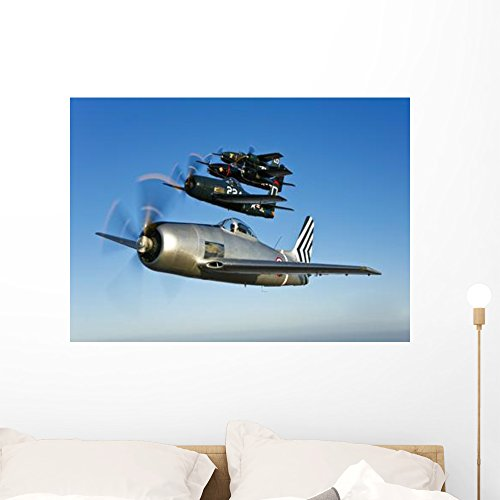 (Airplane Wall Murals - Two Grumman F8f Bearcats and Two F7f Tigercats Fly in Formation - 36 inches x 26 inches - Peel and Stick Removable Graphic)