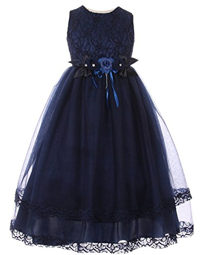 iGirldress Big Girls Lace Trim Double Layered Tulle Flower Girl Dress Navy Size12