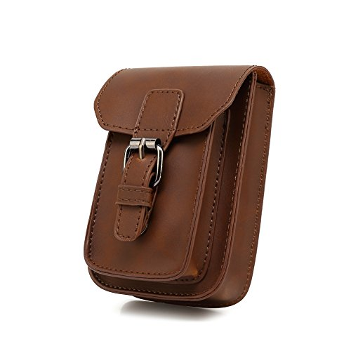 Brown Pouch - Mens Crazy Horse PU Leather Small Hook Waist Bag Waist Belt Bag Phone Case Pouch