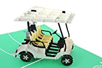 PopLife Golf Cart Pop Up Card for All Occasions - Happy Birthday Card, Retirement, Fathers Day Card, Golfing Gift for Husband, Greeting Card for Golfers - for Son, for Him, for Father, for Grandfather