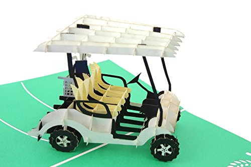 PopLife Golf Cart 3D Pop Up Fathers Day Card - Happy Anniversary Pop Up Card for Dad, Birthday Popup, Retirement Party - Golfing Gift for Husband, Greeting Card for Golfers ()