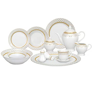 Lorren Home Trends 57-Piece Porcelain Dinnerware Set, Beatrice, Service for 8