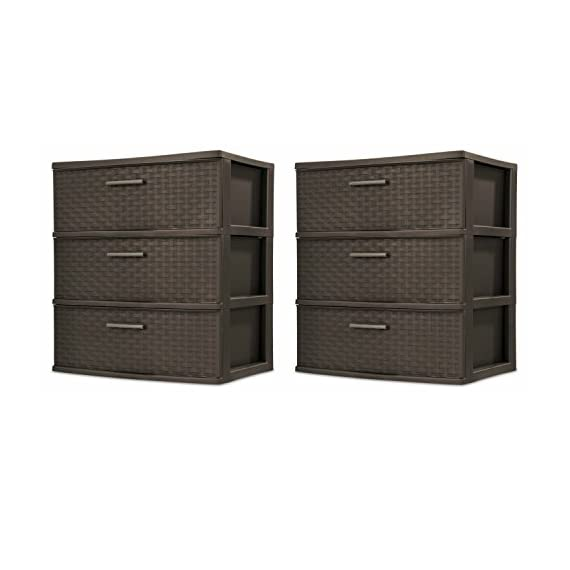 Sterilite 25306P01 3-Drawer Wide Weave Tower, Espresso Frame & Drawers w/ Driftwood Handles, 2-Pack -  - dressers-bedroom-furniture, bedroom-furniture, bedroom - 41cBPY5FW2L. SS570  -