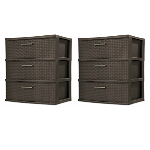 Sterilite 25306P01 3-Drawer Wide Weave Tower, Espresso Frame & Drawers w/ Driftwood Handles, 2-Pack
