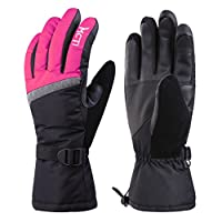 MCTi Waterproof Windproof Women Winter Ski Snowboard Thinsulate Warm Touch Screen Gloves with Gloves Holder Wristband