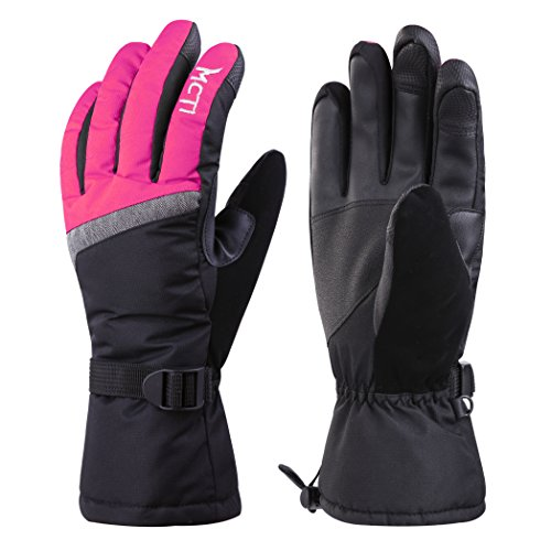 MCTi Waterproof Windproof Womens Winter Ski Snow Snowboard 3M Thinsulate Warm Touchscreen Gloves with Elastic Gloves Holder Keeper Wristband Rose Red Large