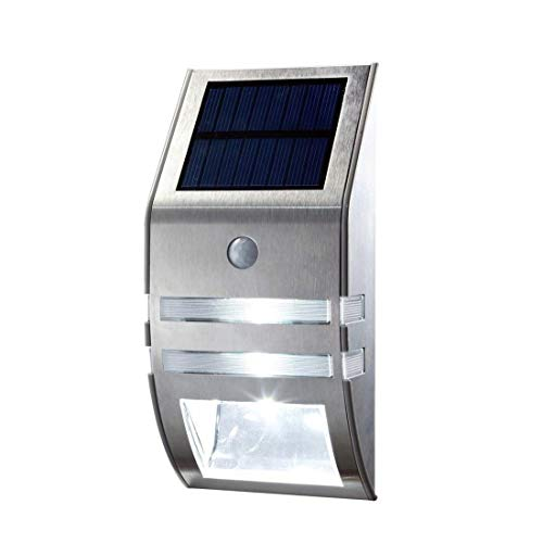 Solar Lights Outdoor,Barfuzom Wireless LED Solar Powered Motion Sensor Light Waterproof Security Wall Lights Outdoor Garage Garden Front Door Yard Pathway - Stainless Stee (Warm White Light)
