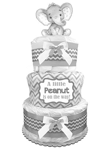 Elephant 3-Tier Diaper Cake - Gender Neutral Baby Shower Gift - Gray ()