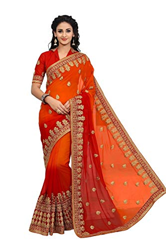 - Online Fayda Women's Georgette Saree With Blouse Piece (Of301,Multicolor Free Size)