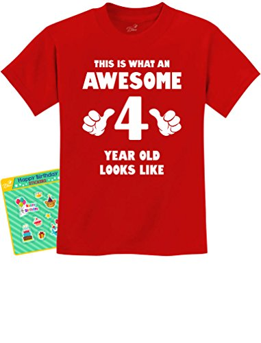 This is What an Awesome 4 Year Old Looks Like 4th Birthday Gift Kids T-Shirt X-Small Red