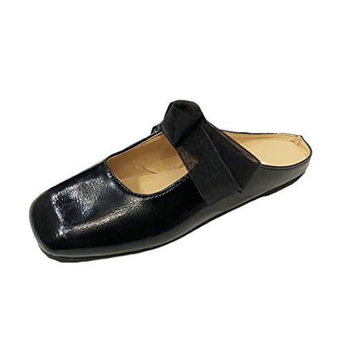 Jitong Retro Slip-on Sandals for Women Square-Toe Low top Flat Slippers with Bowknot Black 9wg1E1d
