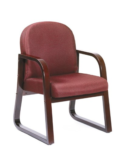 Boss Chair Mahogany Frame Side Office Chair in Burgundy Fabric by Boss Office Products