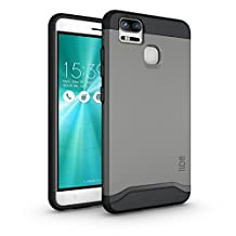 TUDIA ZenFone 3 Zoom Case, Slim-Fit HEAVY DUTY [MERGE] EXTREME Protection / Rugged but Slim Dual Layer Case for Asus ZenFone 3 Zoom (ZE553KL) (Metallic Slate)