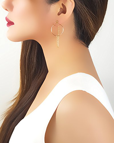 (18K Gold Plated Draped Chain and Hoop Stud Earrings New Womens Jewelry Length: 2