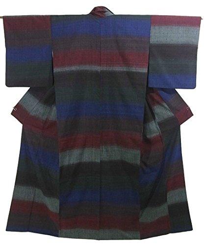 崇拝します妊娠した廃棄するリサイクル 着物 紬 横段模様 ユニーク 裄67cm 身丈164cm