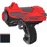 Blaster Soft Rubber Foam Bullets Pull Back Action Gun with 6 Pcs Darts for Kids,Handgun for Target Shooting Game, Multicolour