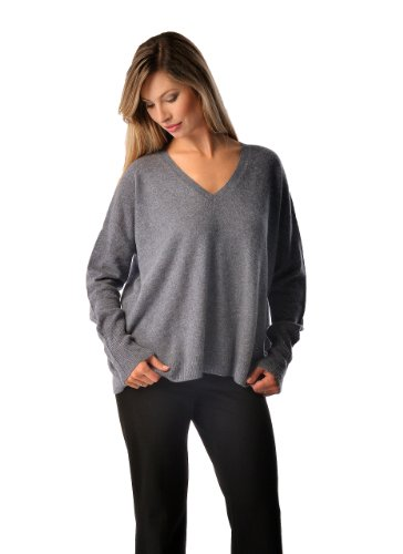 - Cashmere Boutique: Women's 100% Pure Cashmere V-Neck Boyfriend Sweater (Color: Light Pink, Size: Small)